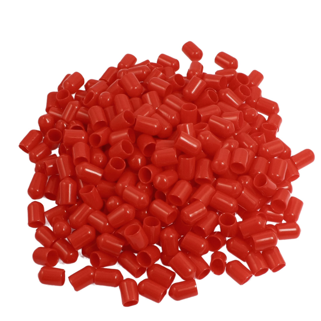 300 Pcs 14mm Height 8mm Inner Dia Round Tip Red PVC Insulated End Caps