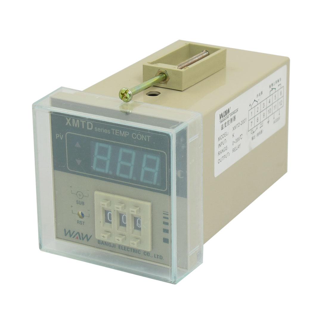 AC 220V 2W Screw Terminal PV Digital Temperature Controller 0-399C