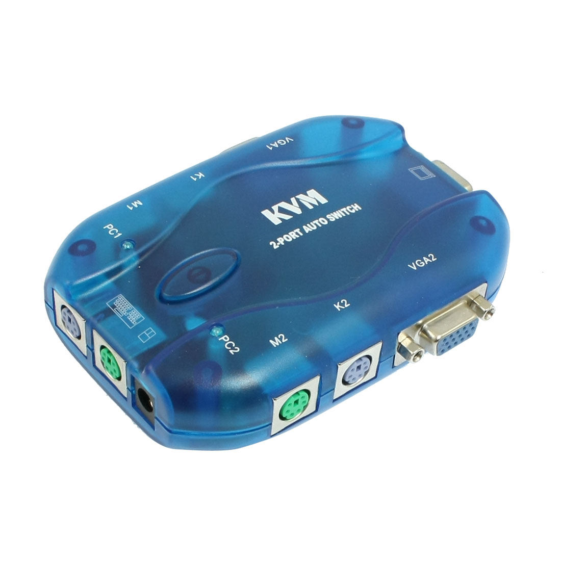 Sea Blue Plastic Shell PS/2 2 Ports PC Computer Selector VGA Auto KVM Switch
