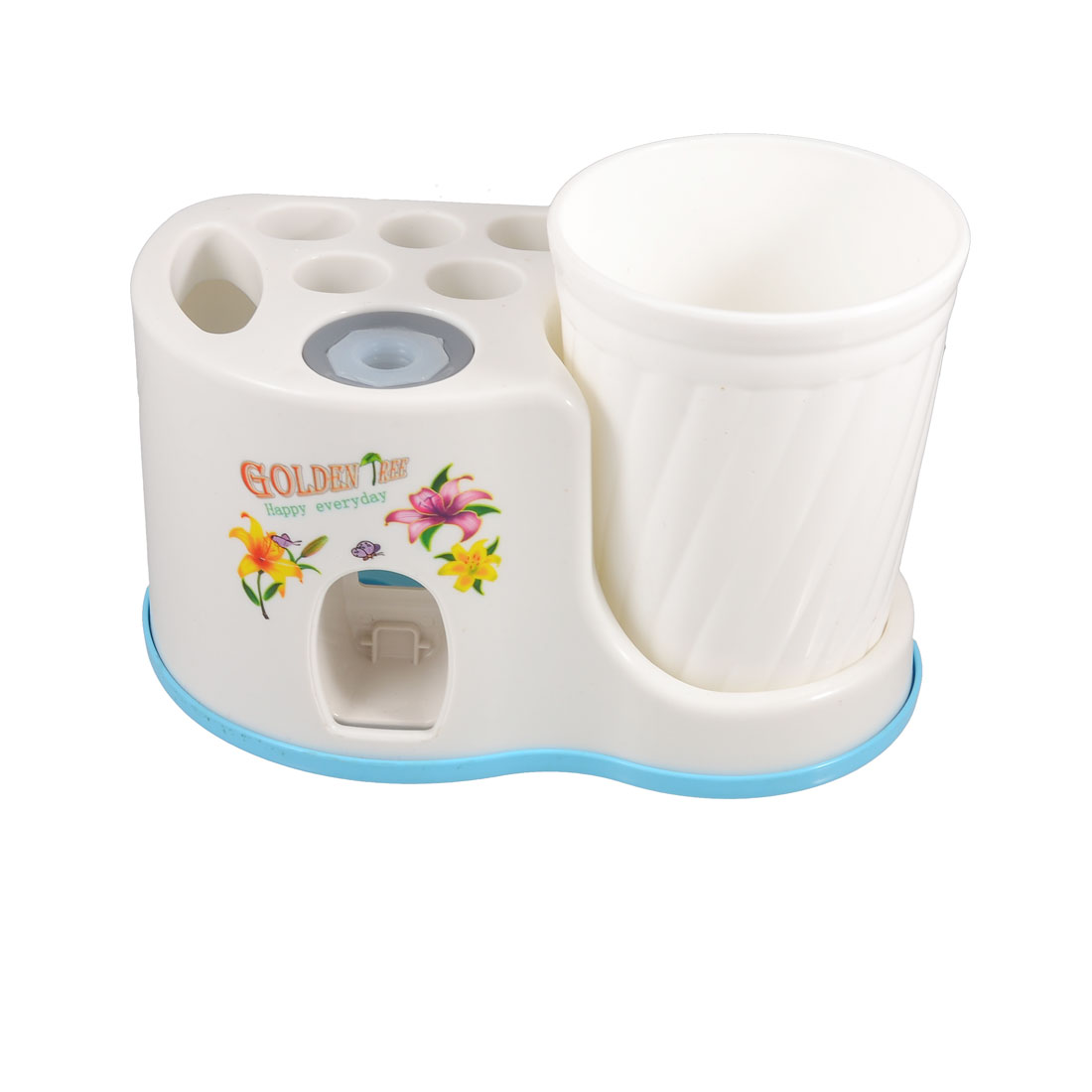 Home Plastic Wall Mounted Toothbrush Toothpaste Holder Case w Cup