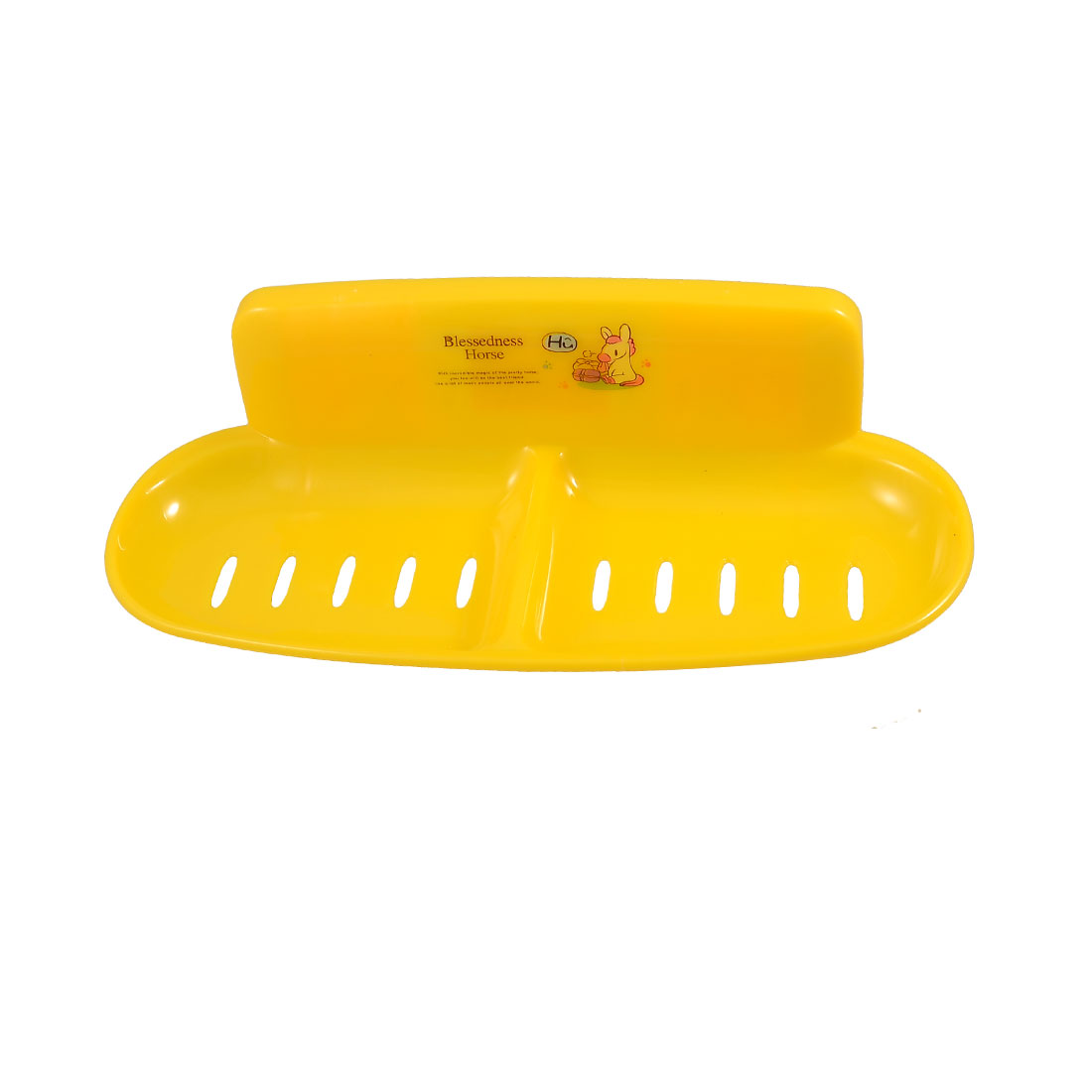 Yellow 2 Compartments Plastic Soap Dish Tray Holder w Suction Cups