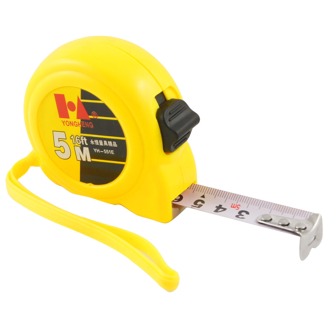 Yellow Case 5 Meters Length Retractable Metric Ruler Tape Measuring Tool