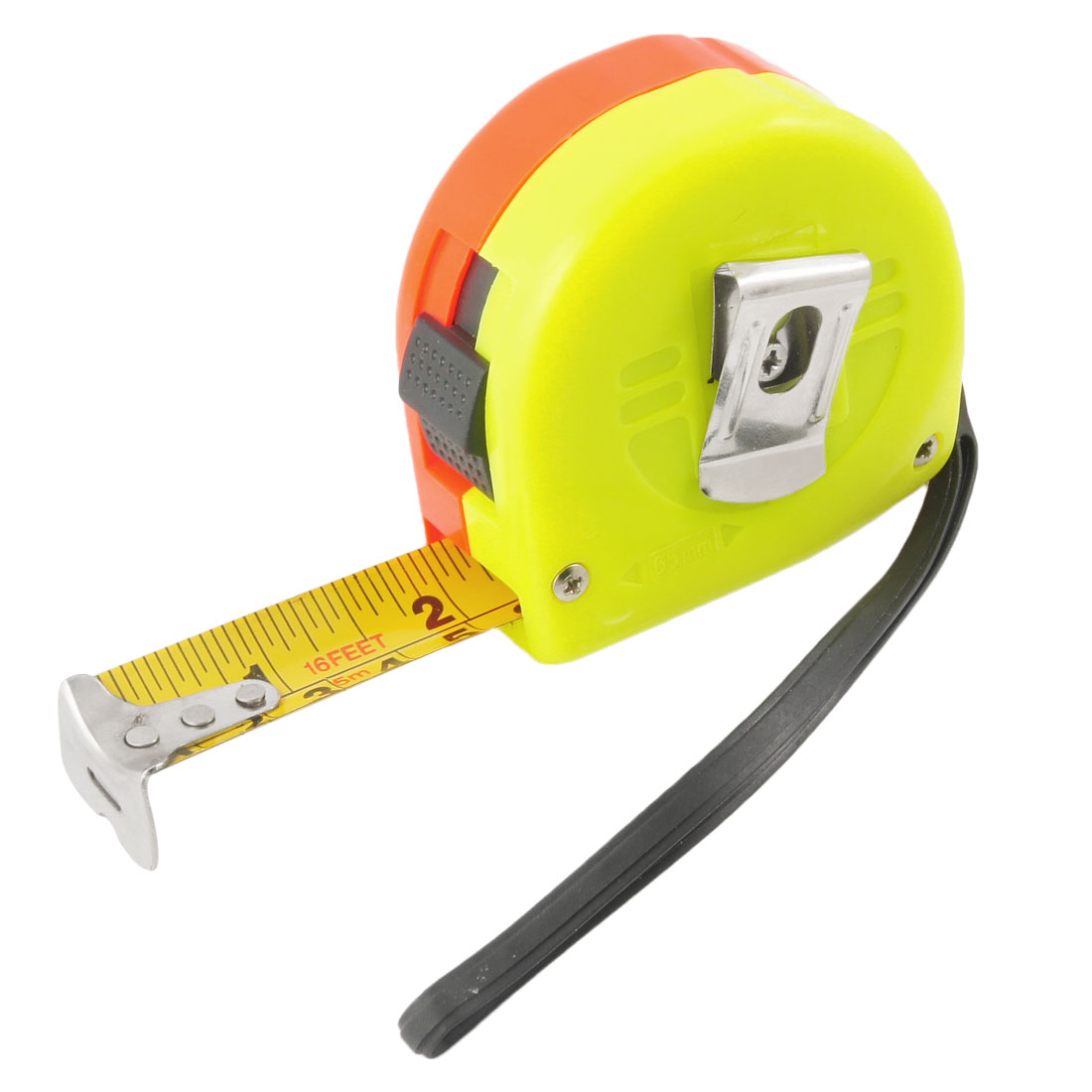 Yellow Red Plastic Self Retractable Locking Ruler Tape 16Ft 5M w Strap