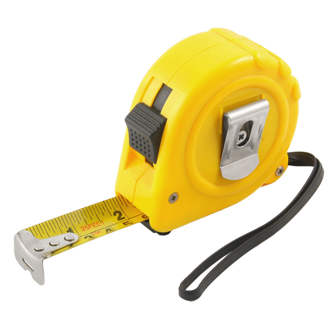 "25mm 1"" Width Portable Locking Tape Measure 25 Feet 7.5M w Black Strap"