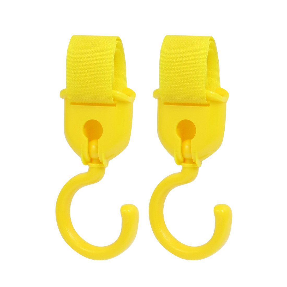 2 Pcs Swivel Baby Stroller Hanger Pram Pushchair Hook Yellow 2kg
