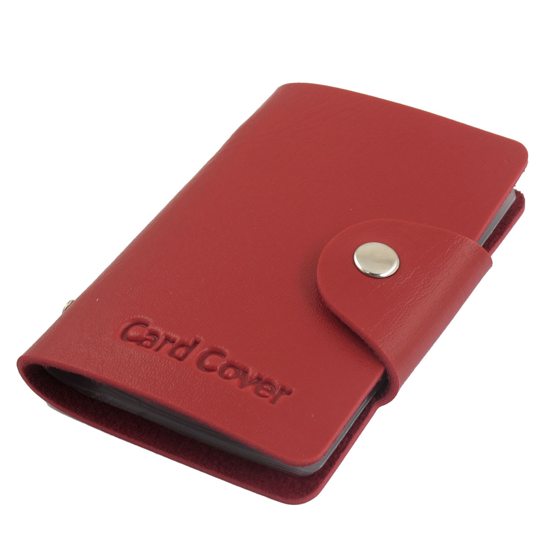 Faux Leather Coated 10 Sheets Business Card Case Holder Red