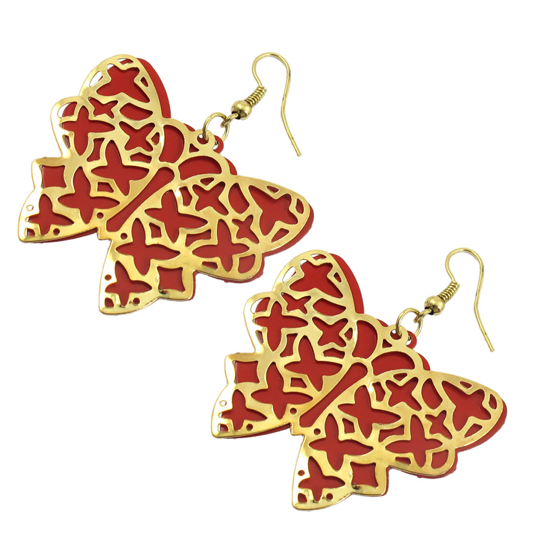 Women Red Gold Tone Butterfly Shape Pierced Dangling Earrings Pair