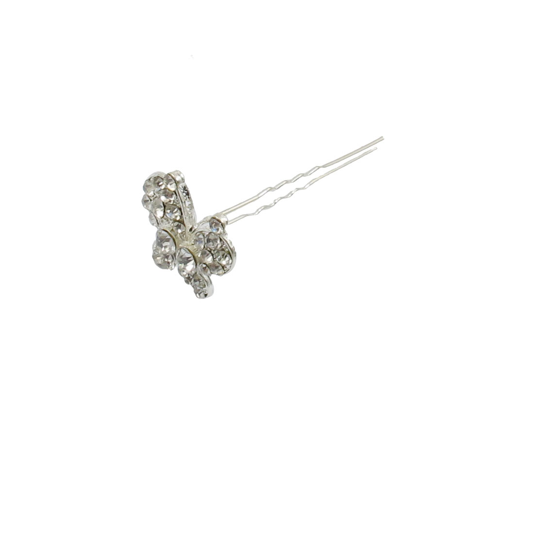 Rhinestone Decor Butterfly End Hair Pin Stick Decoration for Lady