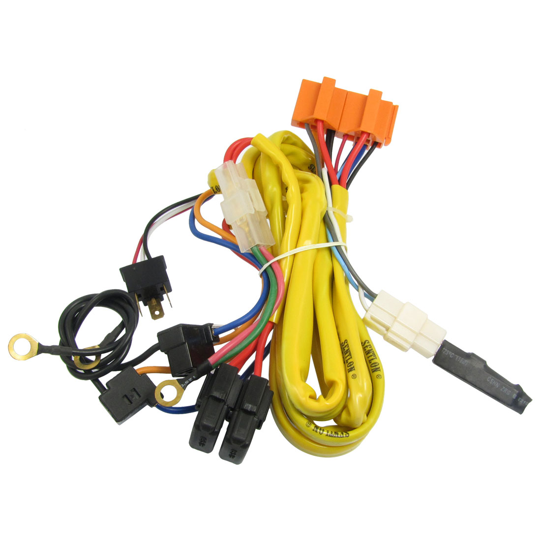 Car Motorcycle H4 90W Headlamp Light Cable Relay Kit