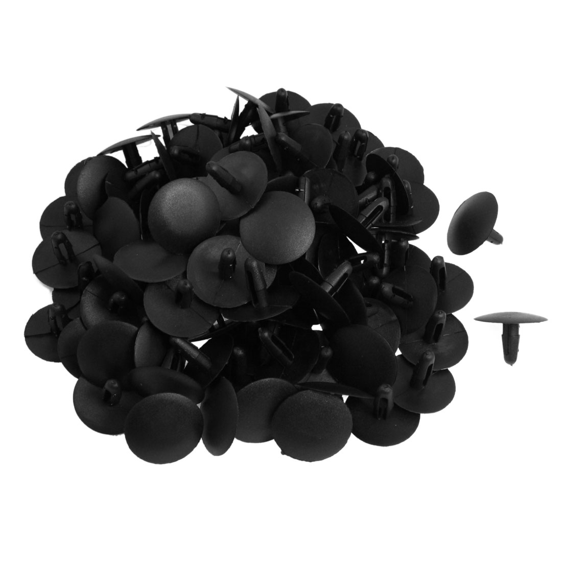 100 Pcs Car 30mm Round Head Black Plastic Rivet Fastener Push Clip for 7mm Hole
