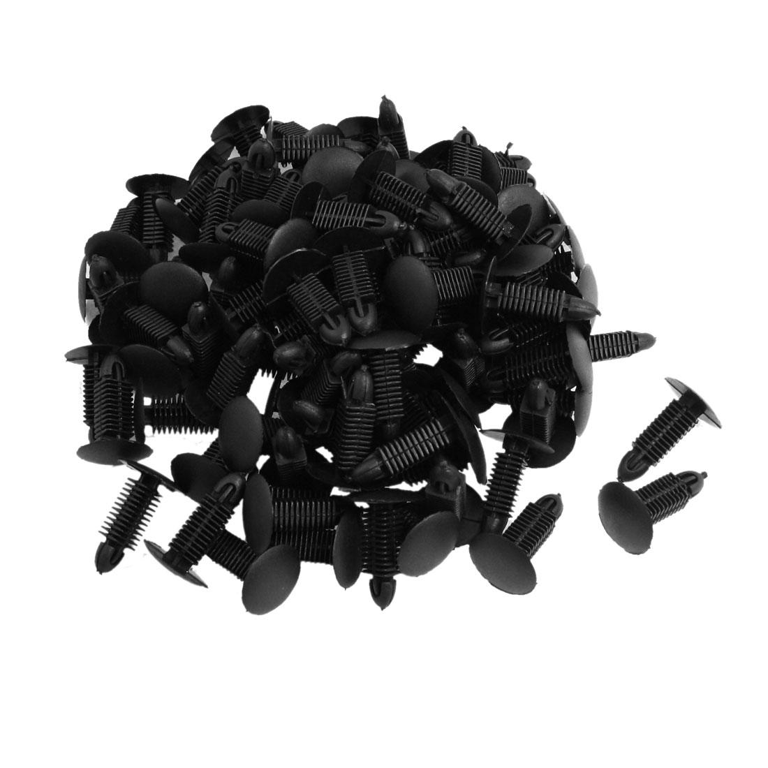 100 Pcs Car Black Plastic Square Stem Rivets Fastener Fender Bumper Clips
