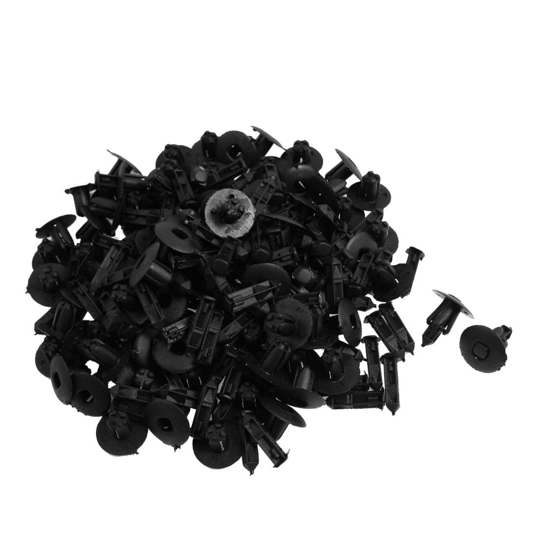 100 Pcs Car 8mm Hole Black Plastic Rivets Fastener Fender Bumper Clips