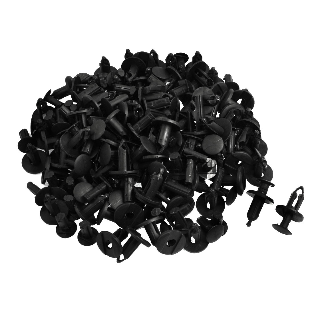 100 Pcs Car Auto 9mm Hole Black Plastic Rivet Fastener Fender Bumper Clips
