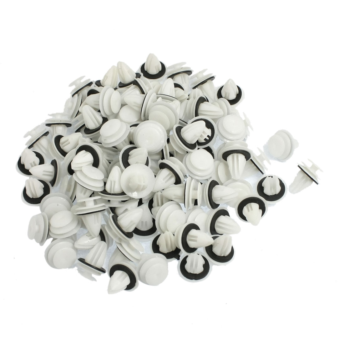 100 Pcs Car 9mm Hole White Plastic Rivet Fastener Fender Bumper Push Clip