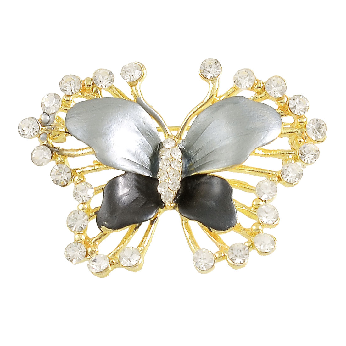 Lady Rhinestone Decor Butterfly Shaped Safety Pin Brooch Breastpin