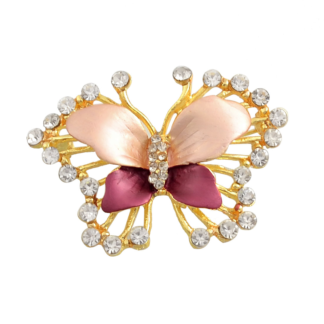 Lady Rhinestone Detailing Amaranth Butterfly Shaped Safety Pin Brooch Breastpin