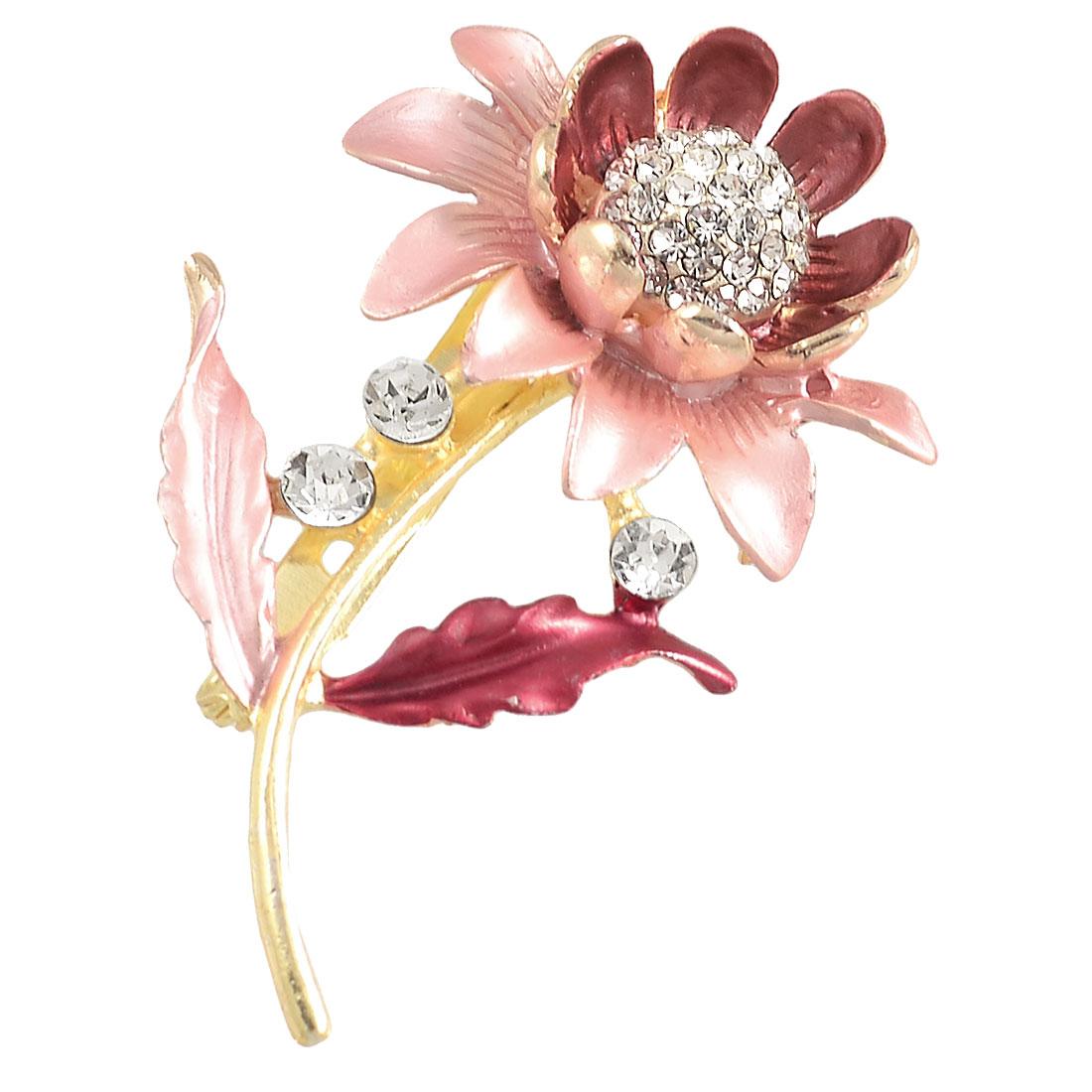 Ladies Dress Ornament Rhinestone Decor Amaranth Sunflower Pin Brooch Broach Gift