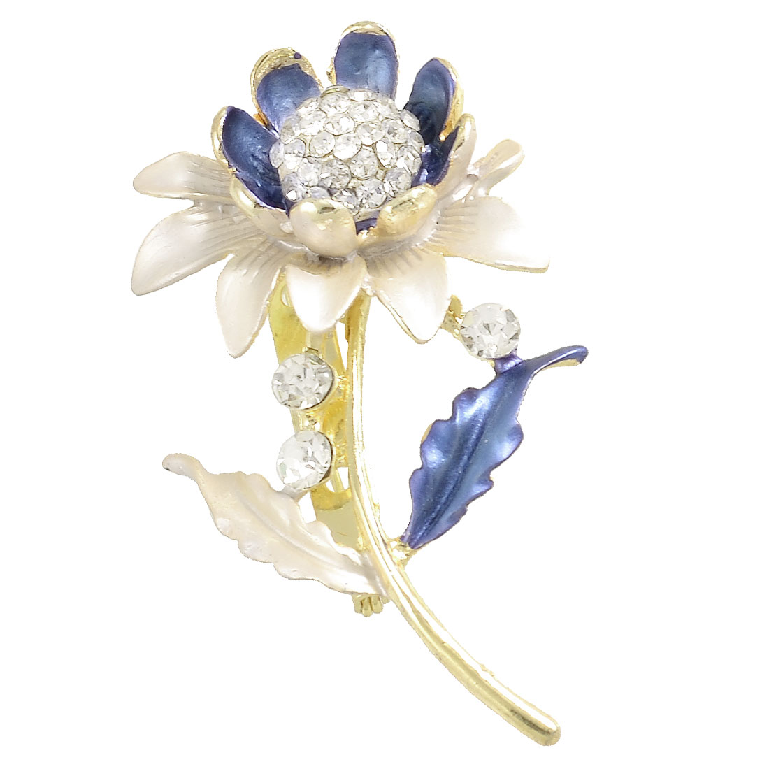 Ladies Blue Sunflower Rhinestones Cluster Pin Brooch Breastpin Gift