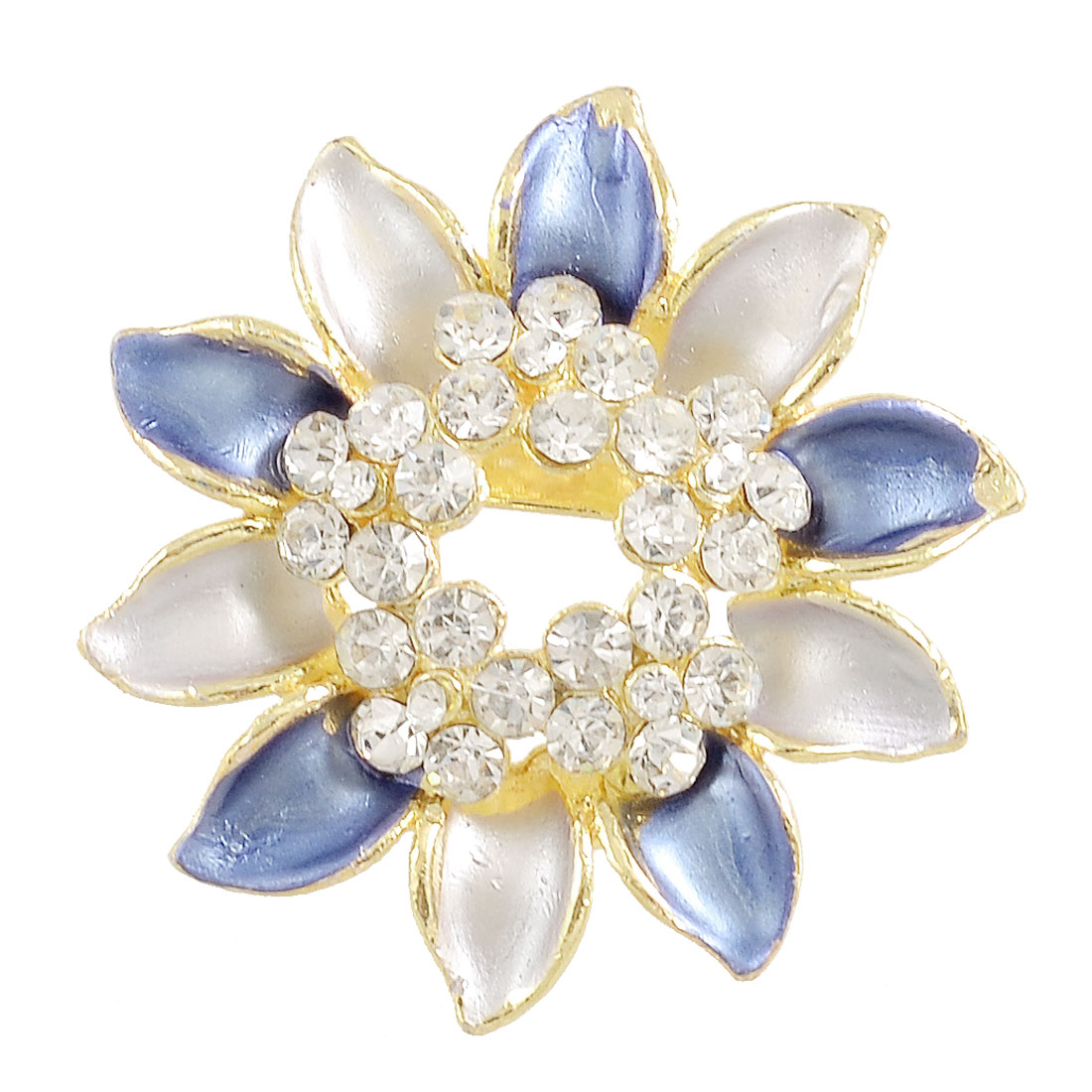 Ladies Rhinestone Centering Blue Flower Metal Safety Pin Brooch Breastpin