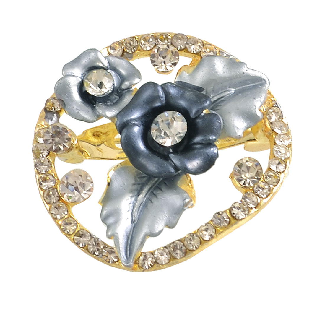 Lady Dark Blue Flower Centering Rhinestone Ring Safety Pin Brooch Broach Gift