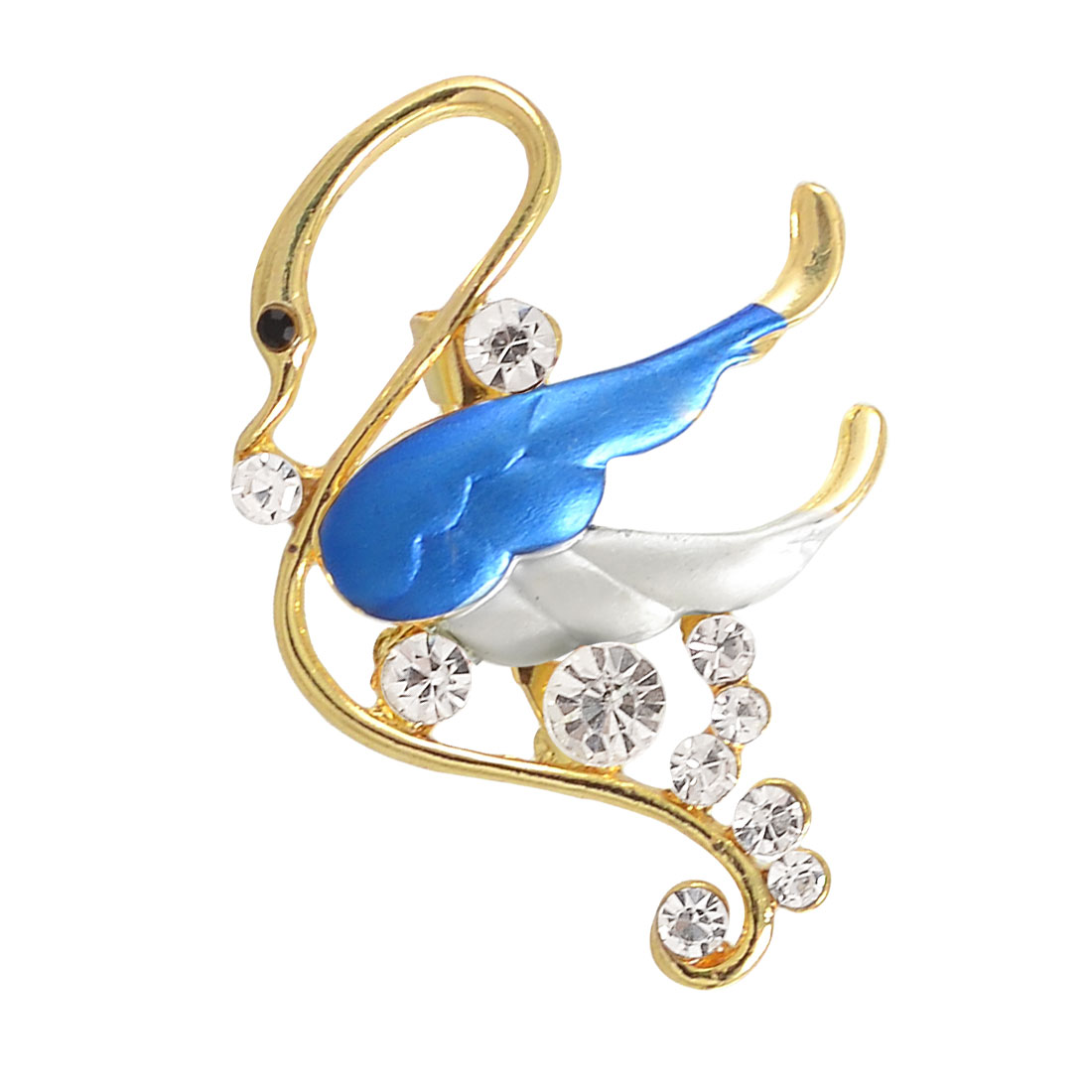 Ladies Glittery Rhinestone Decor White Wing Swan Safety Pin Brooch Broach