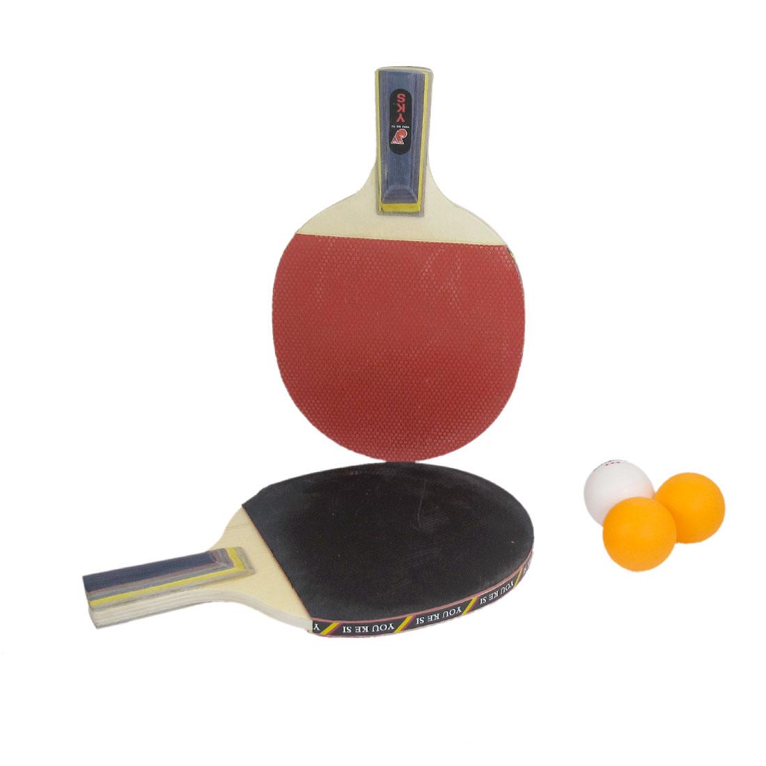 1 Pair Recreational Table Tennis Ping Pong Penhold Grip Racket Paddle w 3 Balls