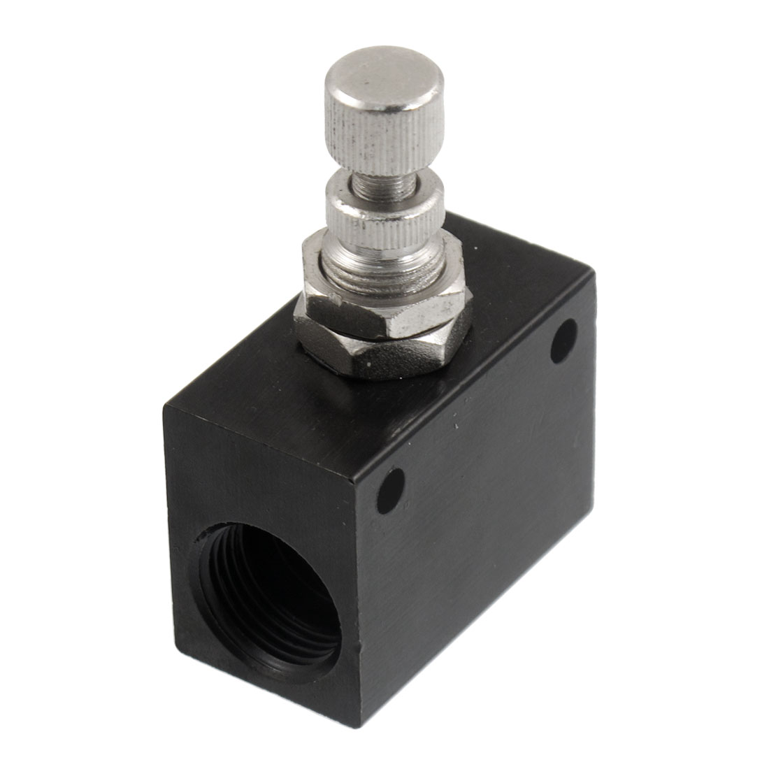 "Black Metal G3/8"" One-way Restrictive Precision Pneumatic Flow Control Valve"