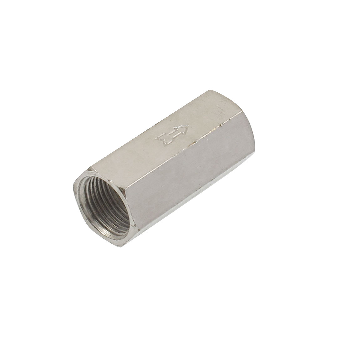 "3/8"" PT Famale Thread Silver Tone Metal One Way Check Valve"