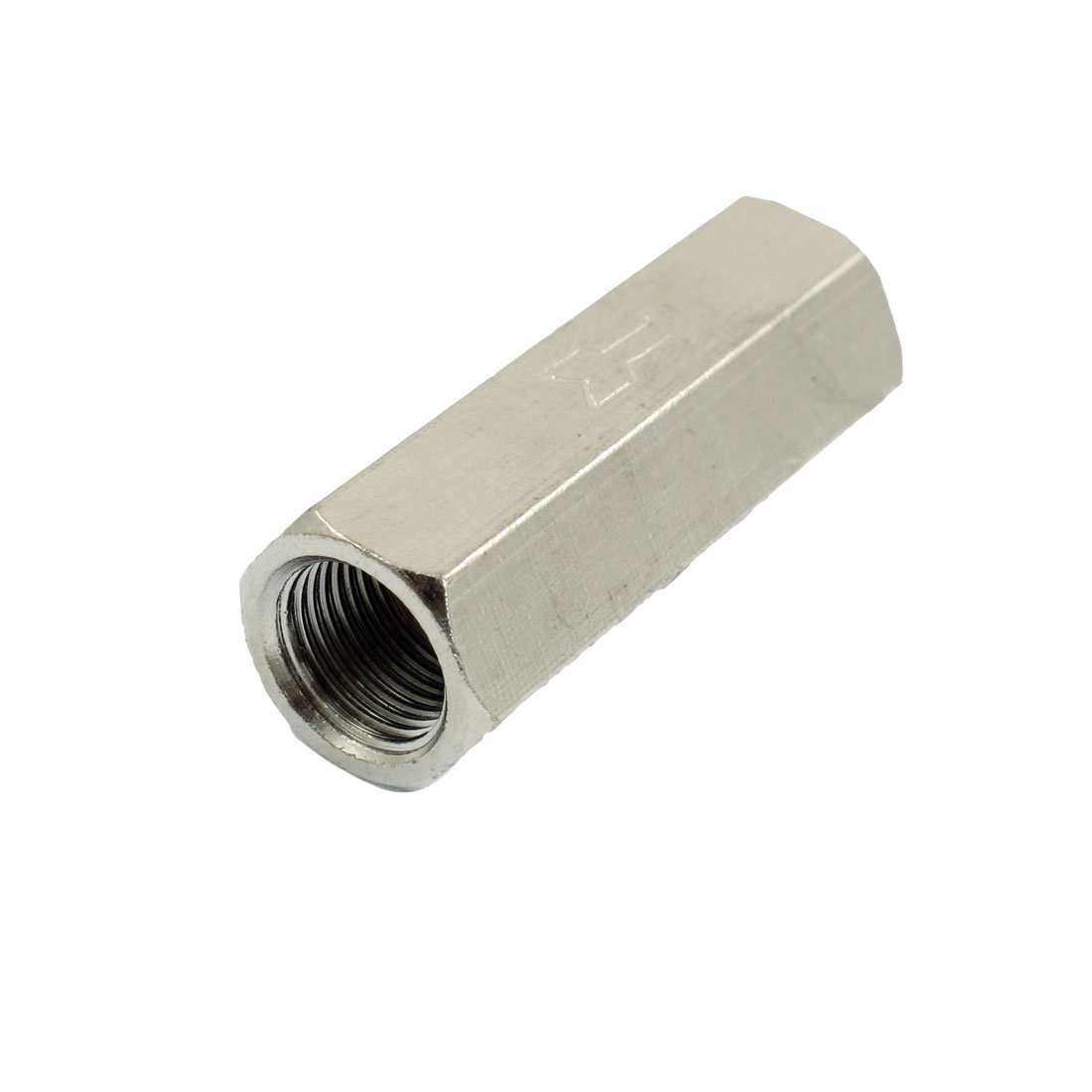 "1/8"" PT Famale Thread Silver Tone Metal Straight One-Way Check Valve"
