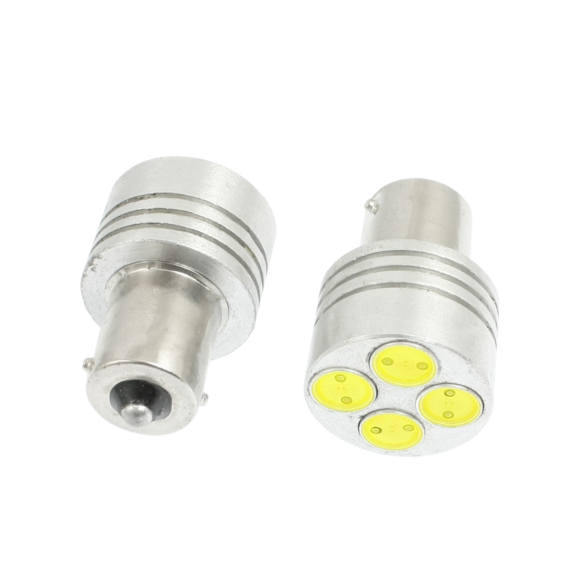2 Pcs Car BA15S 1156 White SMD 4 LED Bulb Tail Turning Light Lamp 4W