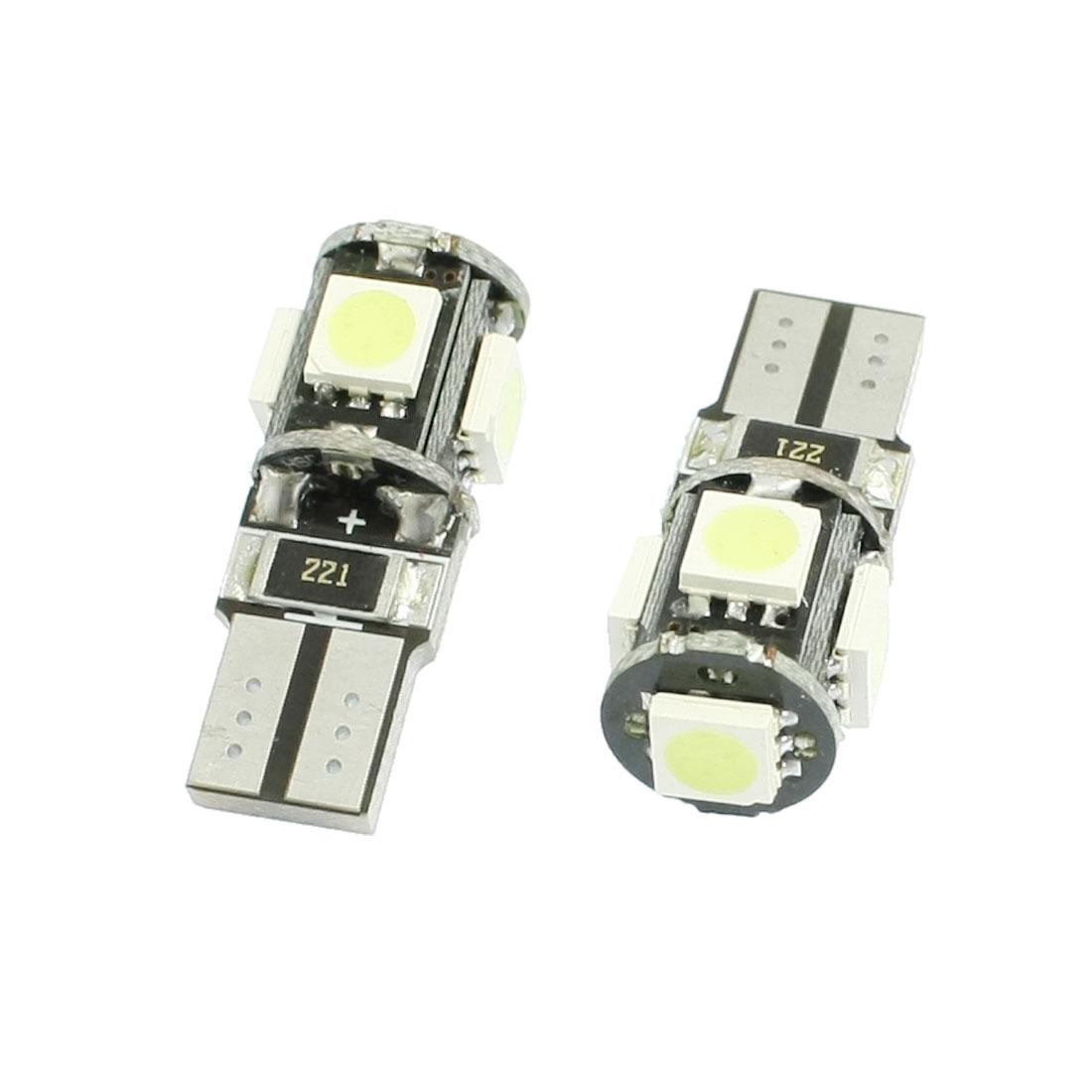 2 Pcs Car T10 194 168 White 5050 SMD 5 LED Wedge Turn Tail Brake Light Bulb Lamp