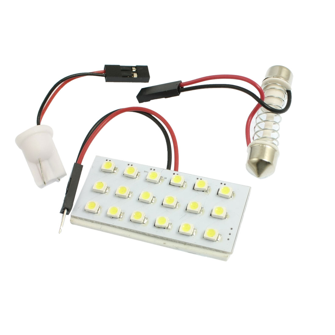 Car White 1210 3528 SMD 18-LED Panel Light Dome Lamp w T10 Festoon Adapter