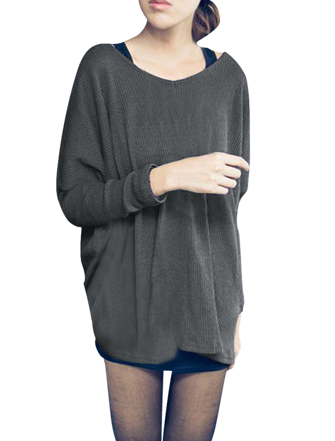 Ladies Long Dolman Sleeves Scoop Neck Loose Sweater Dark Gray XS