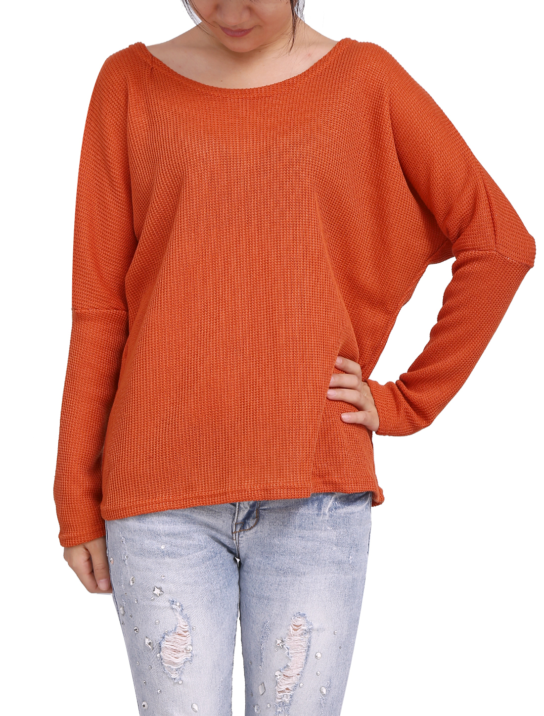 Ladies Dark Orange Long Sleeves Scoop Neck Loose Pullover Sweater XS