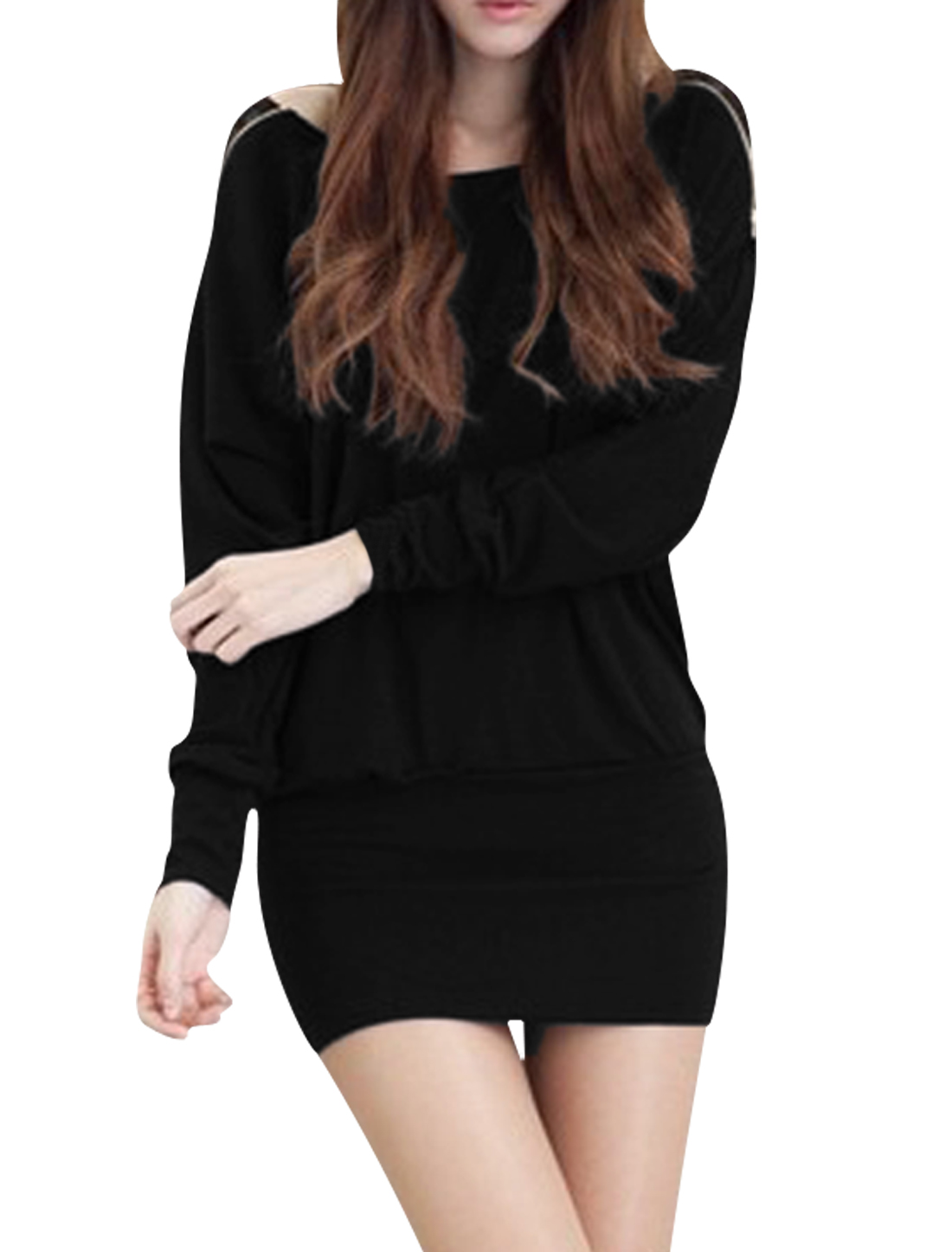 Women Batwing Sleeves Scoop Neck Lace Panel Bodycon Dress Black XS