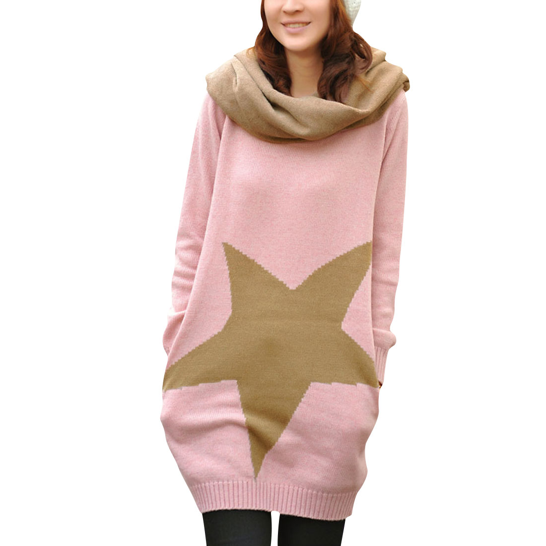 Ladies Pink Khaki Crew Neck Stars Prints Pullover Autumn Sweater w Scarves S