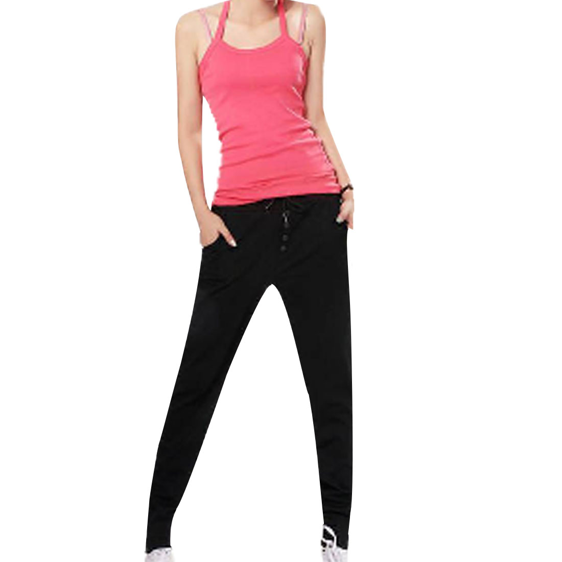 Drawstring Waist Button Decor Solid Color Black Casual Pants for Women S