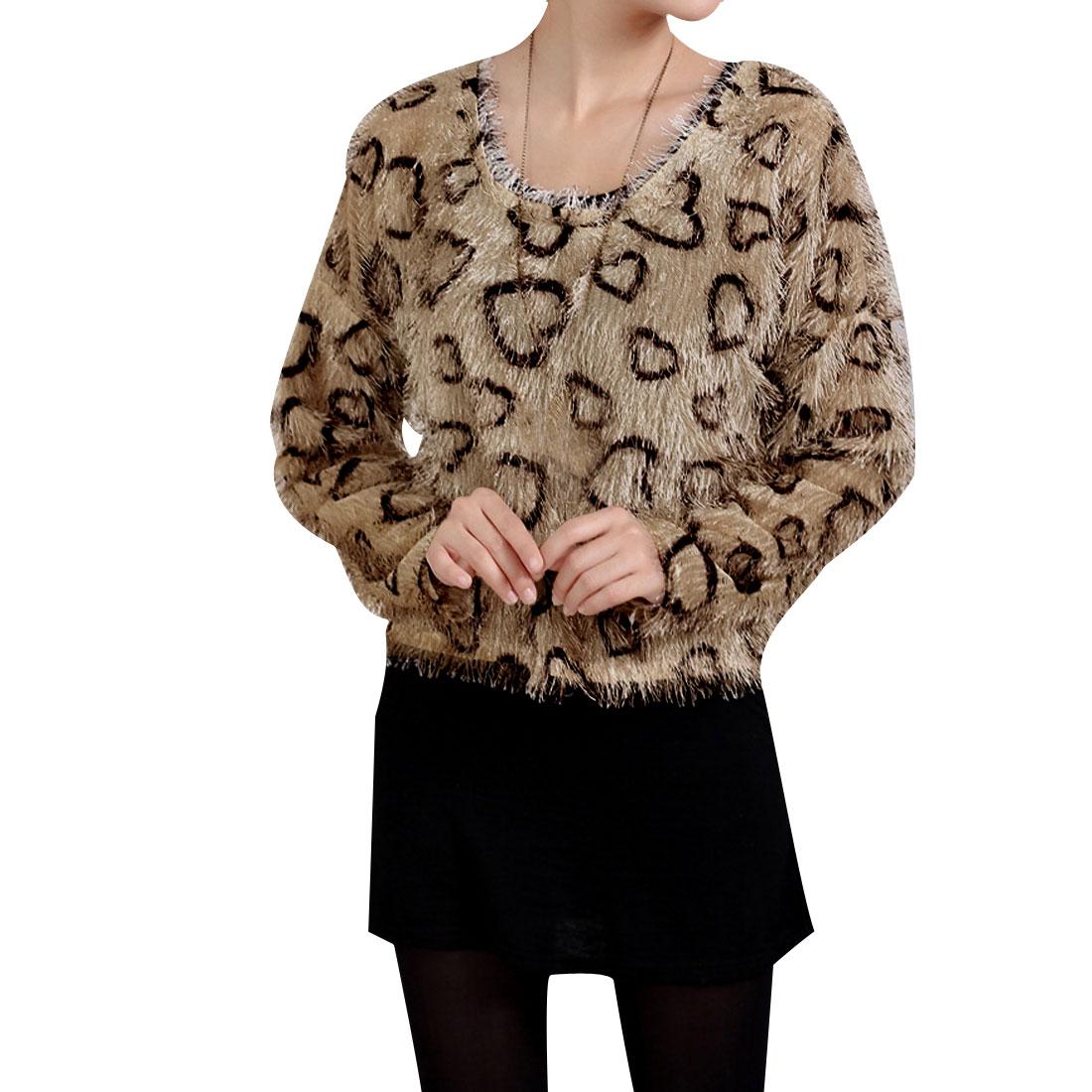Ladies Coffee Long Sleeves Scoop Neck Black hearts Pattern Blouse XS