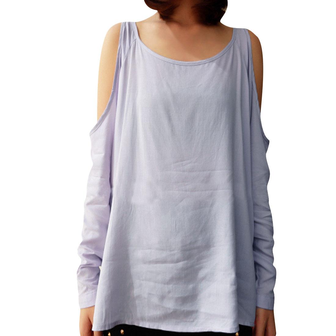 Ladies Light Purple Long Sleeves Sccop Neck Cut Out Blouse XS