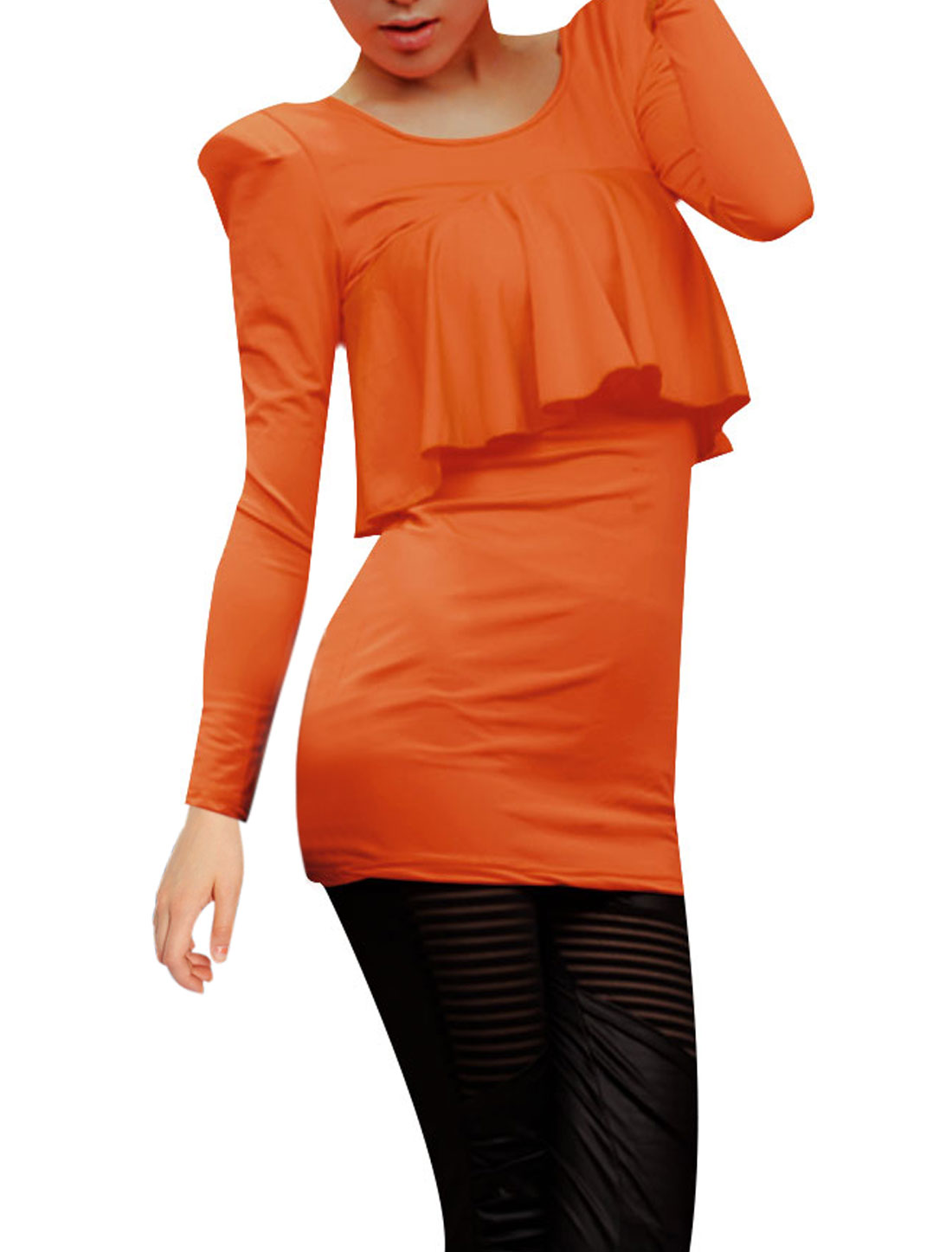 Ladies Orange Scoop Neck Flounce Upper Formfitting Pullover Tunic Shirt XS
