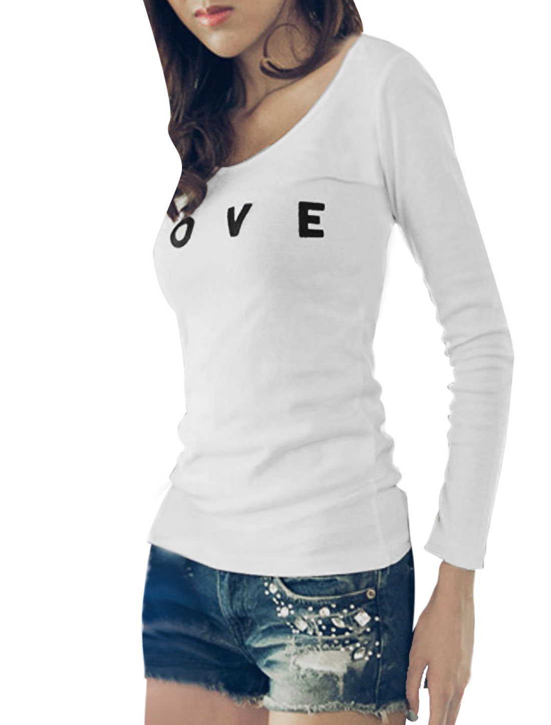 Women White Pullover Long Sleeve Letters Prints Loose Leisure Top Shirt XS