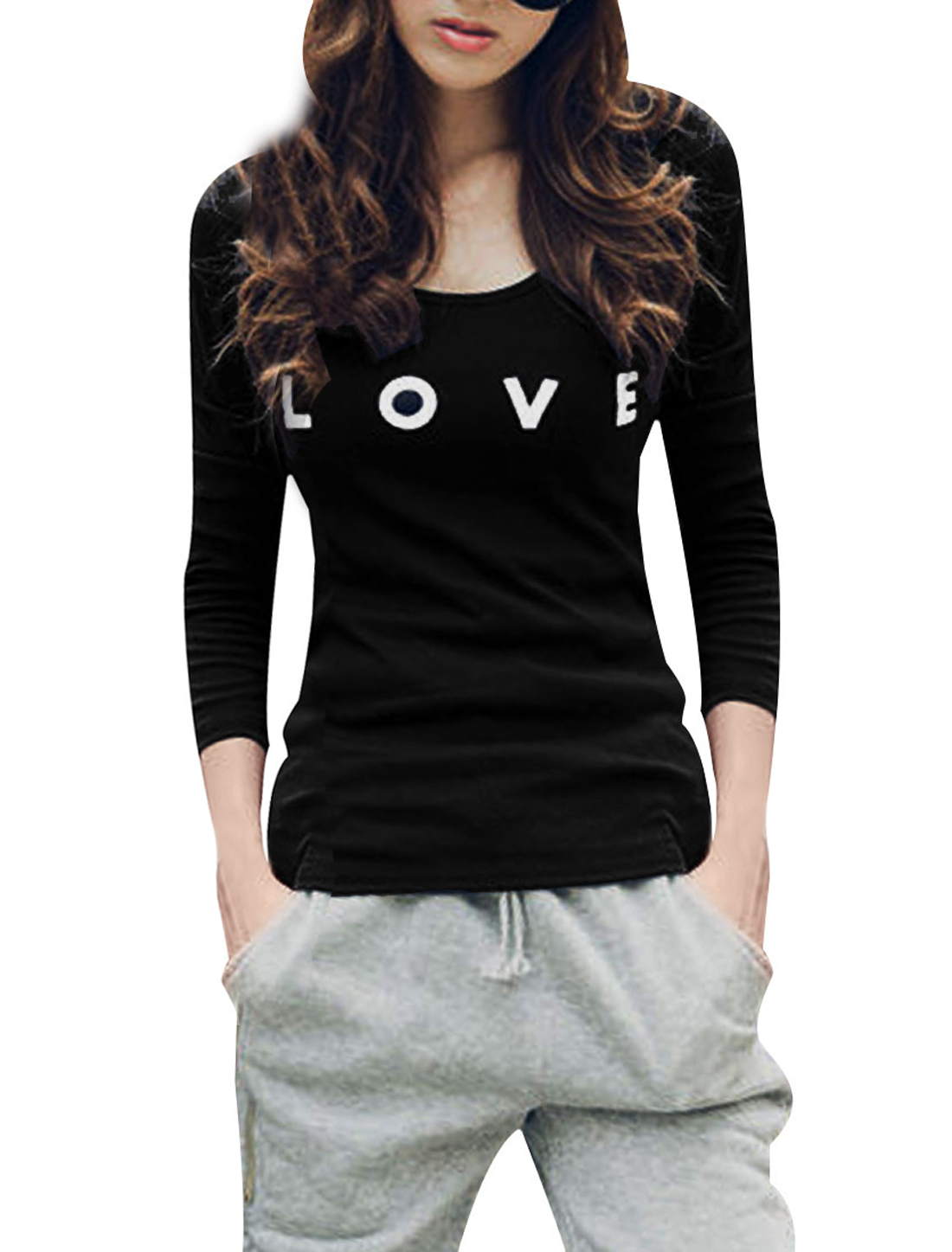 Ladies Black Scoop Neck Long Sleeve Loose Pullover Fall Leisure Top Shirt XS