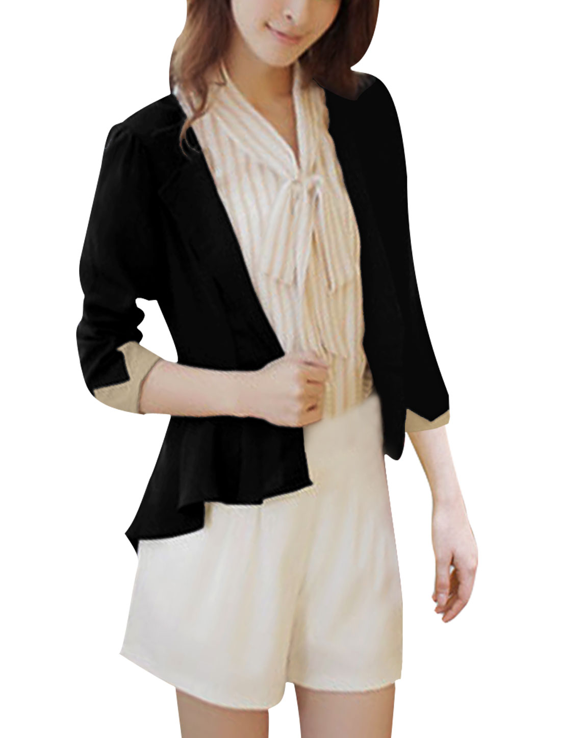 Ladies Long Sleeve Notched Lapel Black Front Opening Waist Length Blazer XS