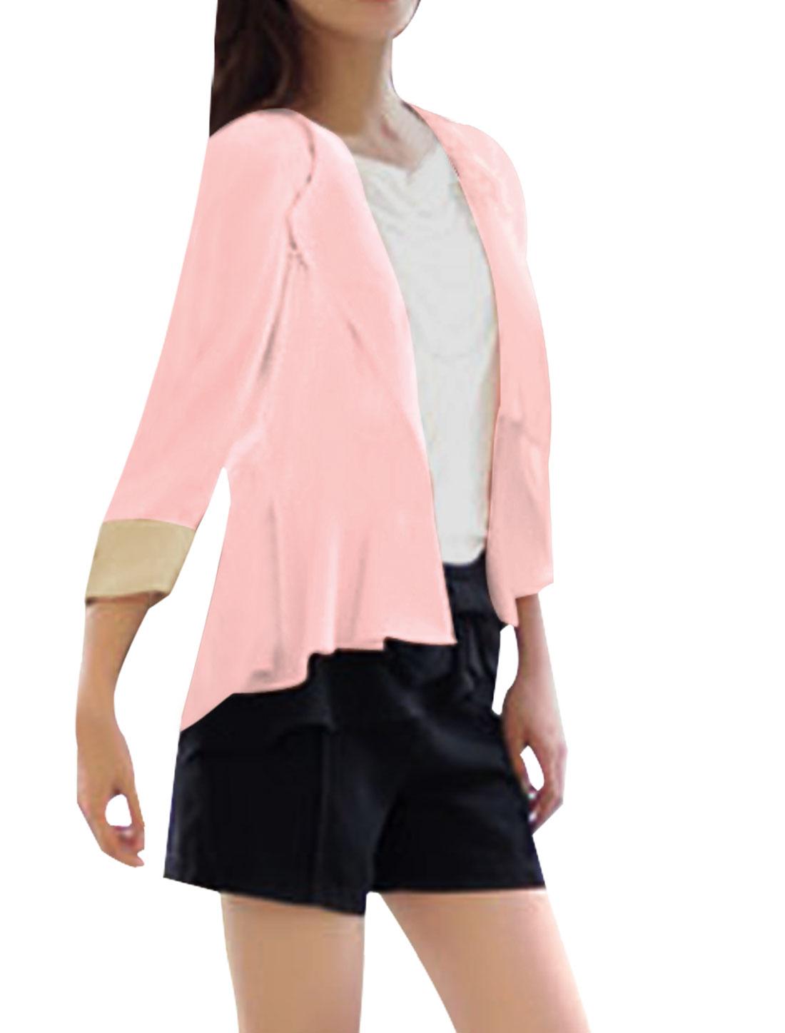 Women Notched Lapel Front Opening Irregular Hem Blazer Pink XS