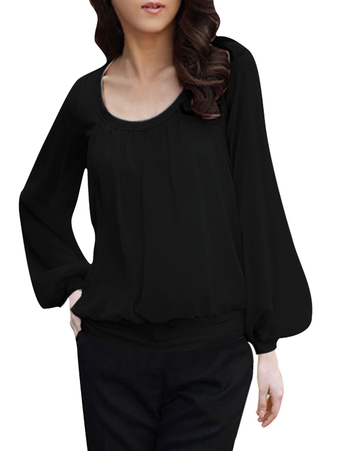 Ladies Semi Sheer Long Sleeve Chiffon Patch Layered Tops Black Blouse XS