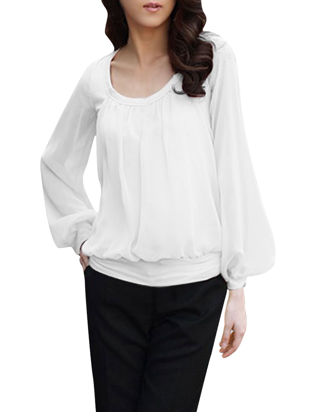 Ladies Long Sleeve Semi Sheer White Chiffon Patch Layered Tops Blouse XS