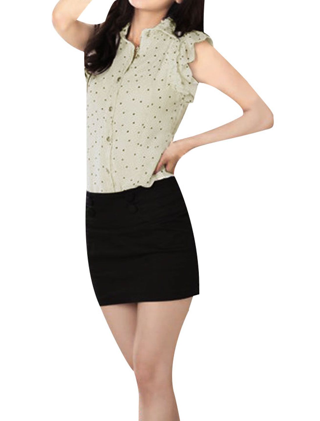 Ladies Beige Flouncing Short Sleeve Single Breasted Dots Pattern Blouse XS