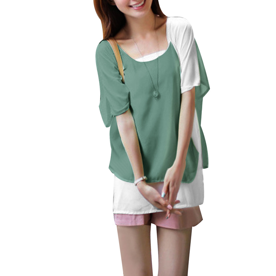 Ladies Light Green Irregular Hem Two Layer Chiffon Panel Blouse XS