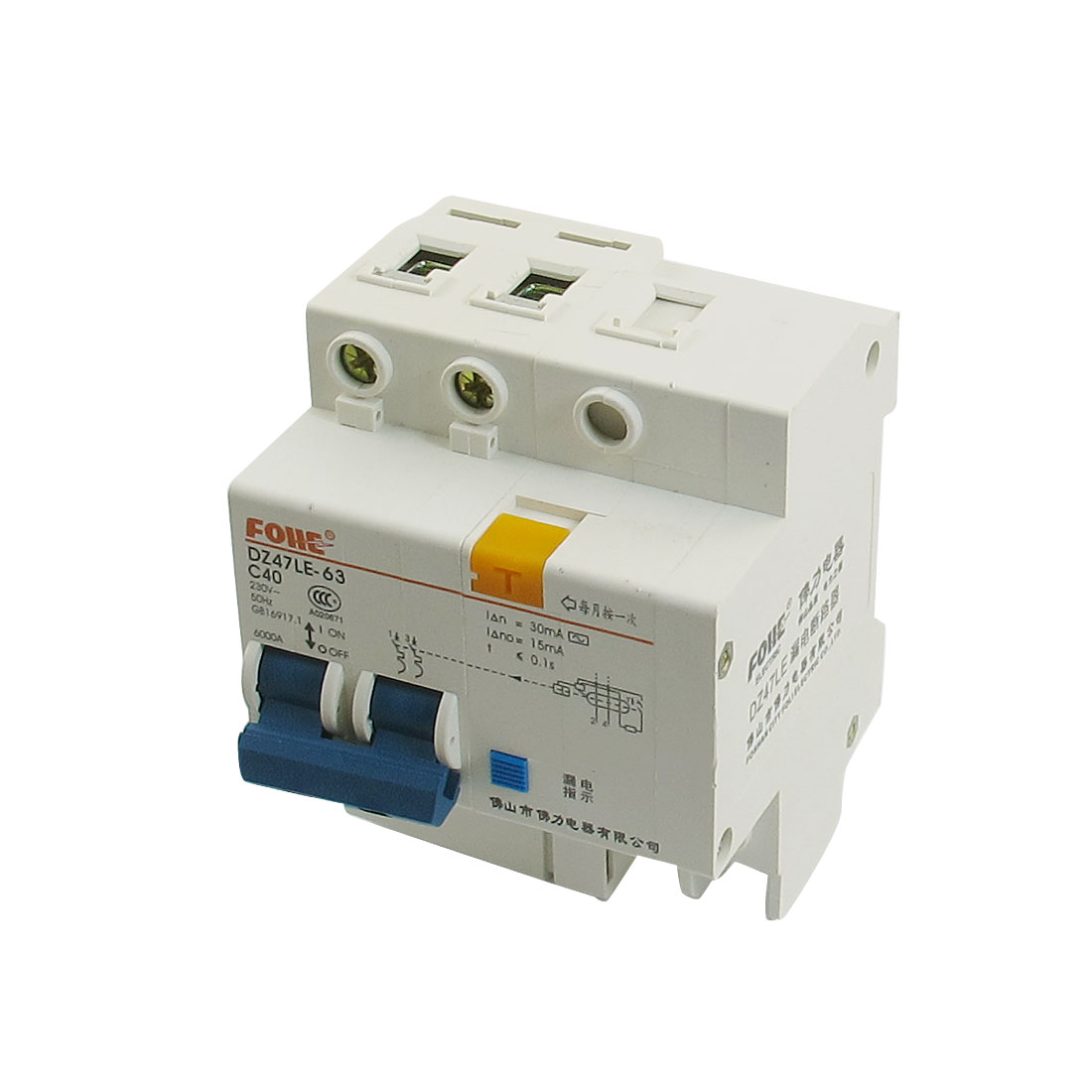 AC 230V 40A 2 Poles Overload Protection Earth Leakage Circuit Breaker 2P+N