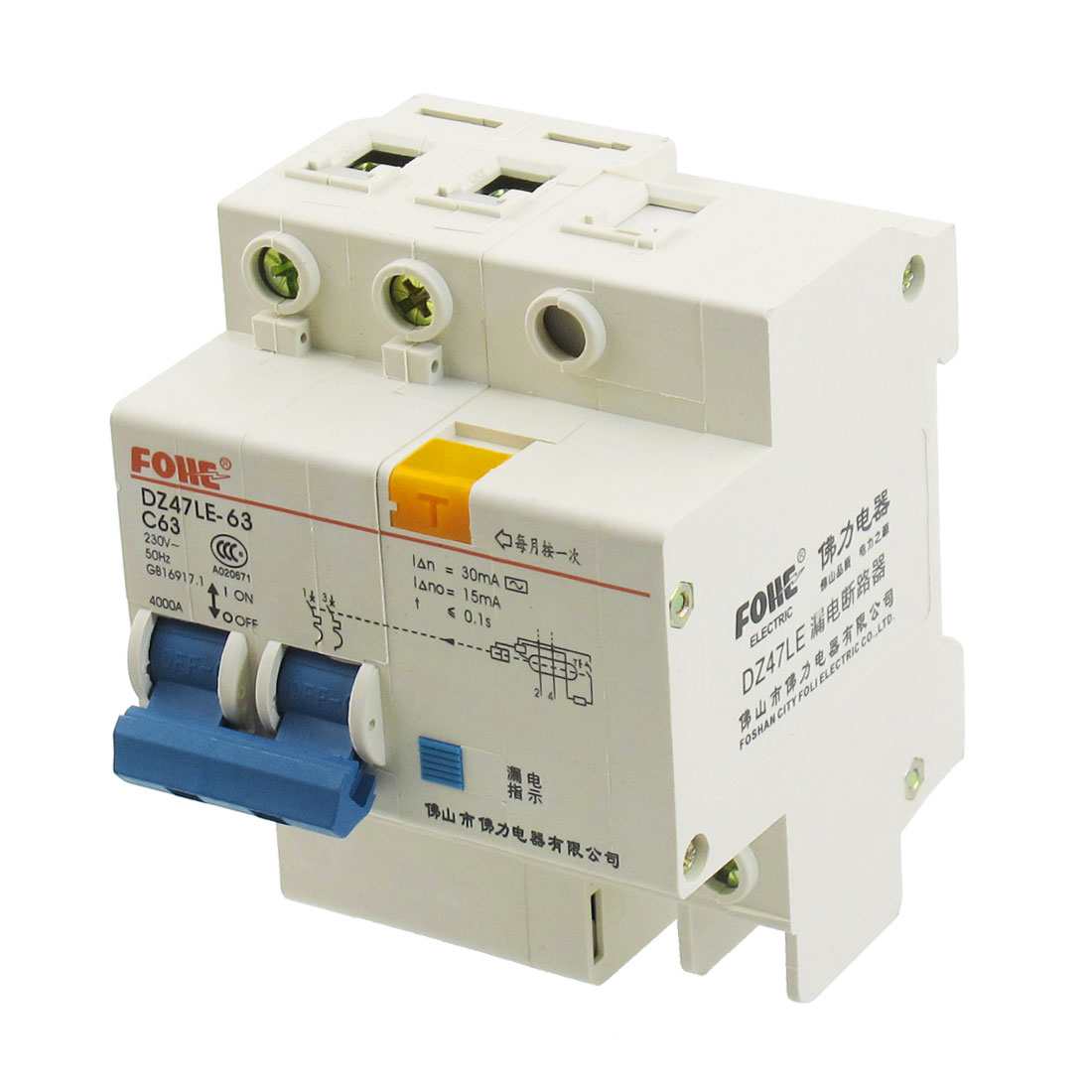 AC 230V 63A 2 Poles Overload Protection Earth Leakage Circuit Breaker 2P+N